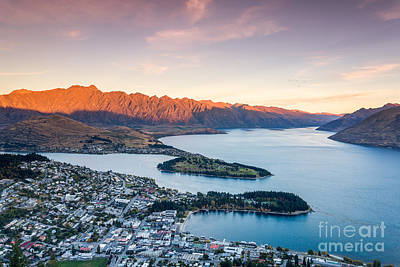 Gondolas Photograph - Iconic View Of Queenstown At Sunset - New Zealand by Matteo Colombo