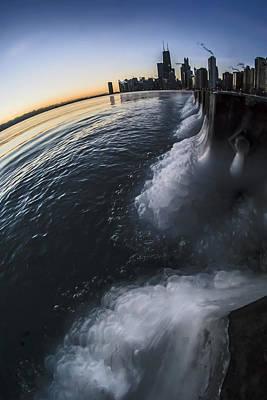 Icy Fisheye View Of Chicago Skyline At Sun Rise  Print by Sven Brogren