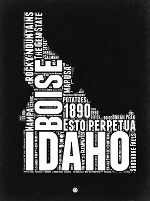 Rocky Mountains Digital Art - Idaho Black And White Map by Naxart Studio