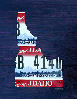 Potato Mixed Media - Idaho Famous Potatoes State License Plate Map by Design Turnpike