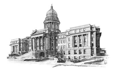 Capitol Building Drawing - Idaho State Capitol by Andrew Aagard