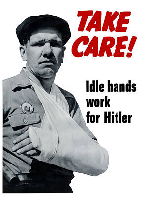 Hand Mixed Media - Idle Hands Work For Hitler by War Is Hell Store