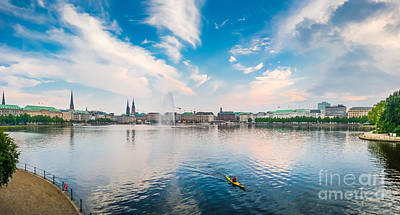 Hamburg Photograph - Idyllic Binnenalster In Golden Evening Light At Sunset, Hamburg, Germany by JR Photography
