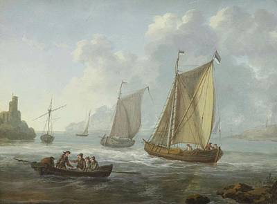 J Boat Painting - Idyllic Lake Shore With Two Boats by Moreth