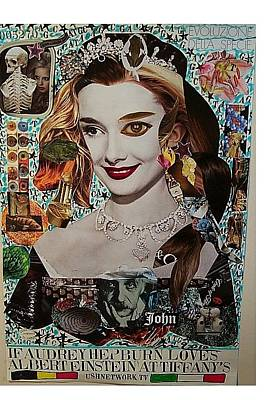 What Is Life Mixed Media - If Audrey Hepburn Loves Albert Einstein At Tiffany's by Francesco Martin