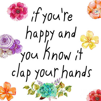 Word Painting - If You're Happy And You Know It by Mindy Sommers