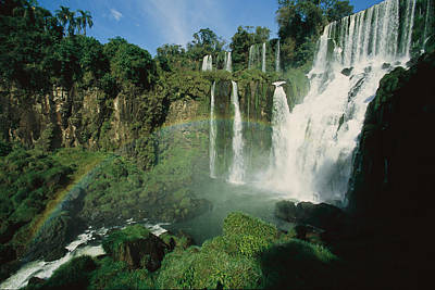Natural Forces Photograph - Iguazu Waterfalls With A Rainbow by Roy Toft