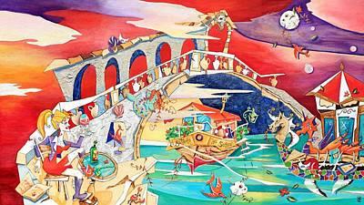 Venecia Painting - Il Battello Dei Sogni - Ponte Di Rialto by Arte Venezia