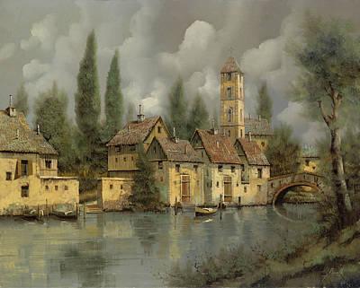 Landscape Painting - Il Borgo Sul Fiume by Guido Borelli
