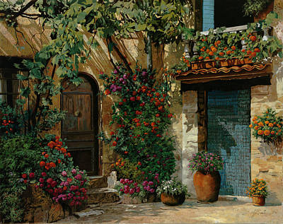 Courtyard Painting - Il Giardino Francese by Guido Borelli
