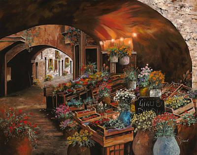 Scenic Painting - Il Mercato Dei Fiori by Guido Borelli