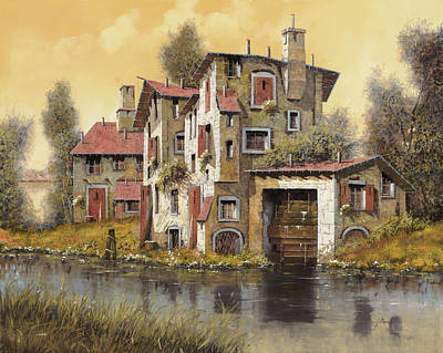 Water Mills Painting - Il Mulino Giallo by Guido Borelli