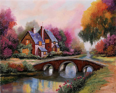 Country House Painting - Il Ponticello A Colori by Guido Borelli