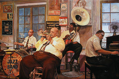 Jazz Band Painting - Il Quintetto by Guido Borelli
