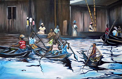 Bamboo House Painting - Ilaje Obalende Makoko by Olaoluwa Smith