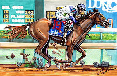 Kentucky Horse Park Drawing - I'll Have Another by Dave Olsen