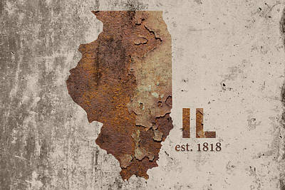 Illinois State Map Industrial Rusted Metal On Cement Wall With Founding Date Series 031 Print by Design Turnpike