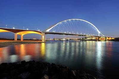 Illuminated Bridge De Oversteek In Nijmegen Across The Waal River Print by Merijn Van der Vliet
