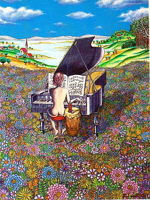 Woman Playing Piano Painting - Illusion Rhapsody by Eric de Kolb