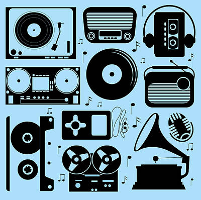 Moscow Digital Art - Illustration Of Different Musical Devices by Olillia