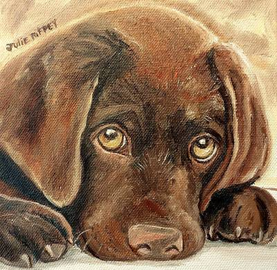Chocolate Lab Puppy Painting - I'm Sorry - Chocolate Lab Puppy by Julie Brugh Riffey