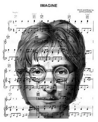 Johnlennon Drawing - Imagine by Alan Zinn
