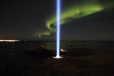 Imagine Tower Of John Lennon In Iceland Original by Andres Zoran Ivanovic