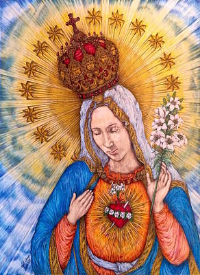 Floral Drawing - Immaculate Heart Of Virgin Mary by Kent Chua