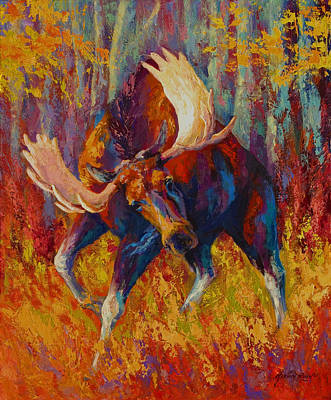 Marshes Painting - Imminent Charge - Bull Moose by Marion Rose