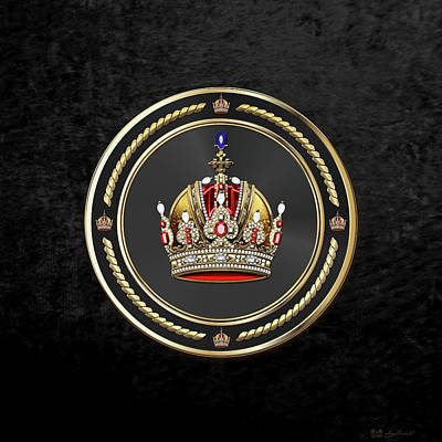 Imperial Crown Of Austria Over Black Velvet Print by Serge Averbukh