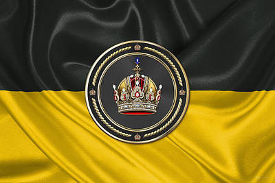 Imperial Crown Of Austria Over Flag Of The Habsburg Monarchy Print by Serge Averbukh