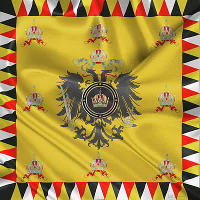 Imperial Crown Of Austria Over Standard Of The Emperor Print by Serge Averbukh