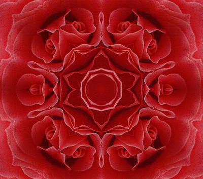 Regalo Mixed Media - Imperial Red Rose Mandala by Georgiana Romanovna