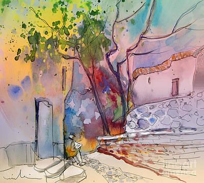 Travel Sketch Drawing - Impression De Trevelez Sierra Nevada 02 by Miki De Goodaboom