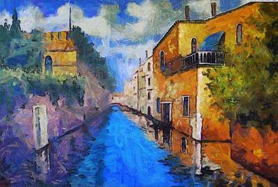 Impressionist D'art At The Canal Print by Mario Carini