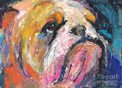 Russian Drawing - Impressionistic Bulldog Painting by Svetlana Novikova