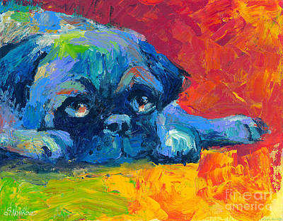 Impressionistic Dog Art Drawing - impressionistic Pug painting by Svetlana Novikova