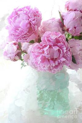 Impressionistic Romantic Pink Peonies Aqua Vase French Impressionism - Romantic Shabby Chic Peonies Print by Kathy Fornal