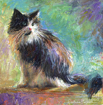 Window Drawing - Impressionistic Tuxedo Cat Portrait by Svetlana Novikova