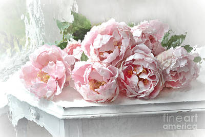 Impressionistic Watercolor Pink Peonies - Pink And White Romantic Shabby Chic Still Life Peonies Art Print by Kathy Fornal