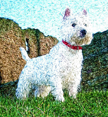 Westie Digital Art - Impressionistic Westie by Laura Brightwood