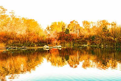 Vivacious Digital Art - Impressions Of Forests - Colorful Autumn Mirror by Georgia Mizuleva