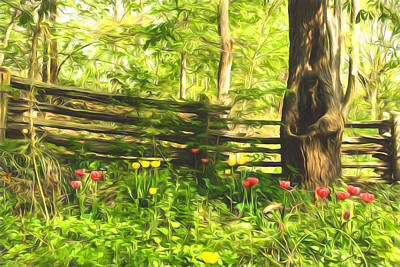 Vivacious Digital Art - Impressions Of Gardens - Colorful Tulips And A Rustic Fence by Georgia Mizuleva