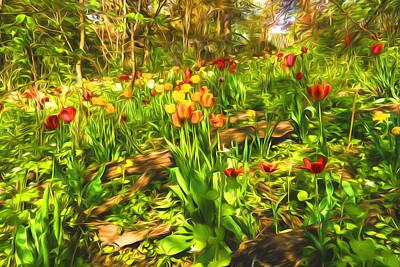 Vivacious Digital Art - Impressions Of Gardens - The Untamed Tulip Forest In Spring by Georgia Mizuleva