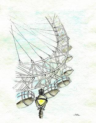 London Eye Drawing - Impressions Sur L'architecture - London Eye by Cris Motta