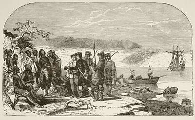 Explore Drawing - In 1609, Henry Hudson Offers Liquor To by Vintage Design Pics