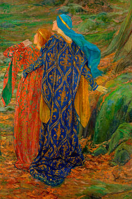 Drawing - In Awe by Edwin Austin Abbey