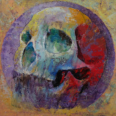 Multi Colored Painting - Vintage Skull by Michael Creese