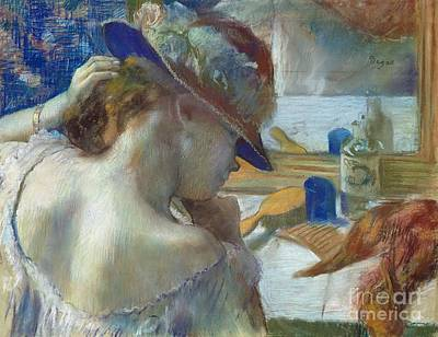 Dressing Painting - In Front Of The Mirror by Edgar Degas