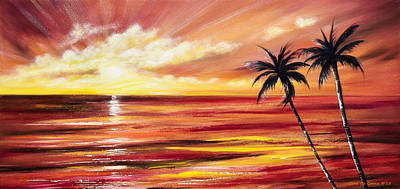 In Full Glory - Red Panoramic Sunset Print by Gina De Gorna